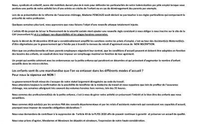 Lettre ouverte aux députés et sénateurs pour le refus du flicage des assistantes maternelles sur le site monenfant.fr