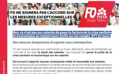 """FO ne signera pas l'accord """"congés payés Covid 19"""" dans le groupe Terrena"""