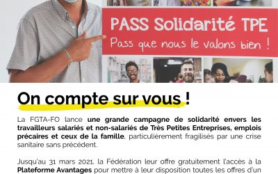 """Campagne de solidarité """"PASS Solidarité TPE"""" : on compte sur vous !"""