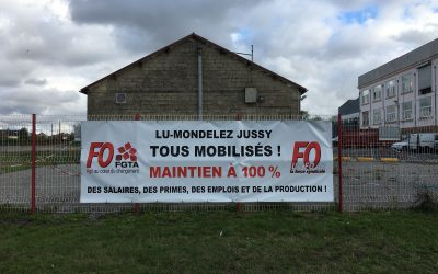 LU-Mondelez à Jussy : FO reste mobilisée pour le maintien à 100 % des salaires, des emplois et de la production