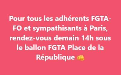 Manifestation du 5 octobre à Paris, rendez-vous sous le ballon FGTA-FO !